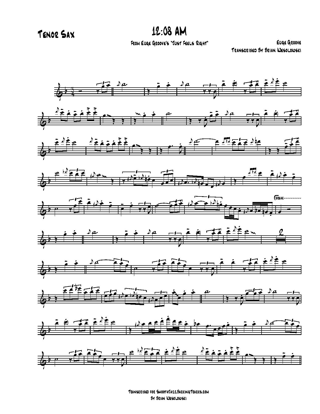 Smooth Jazz Sax Solo Sheet Music E-J