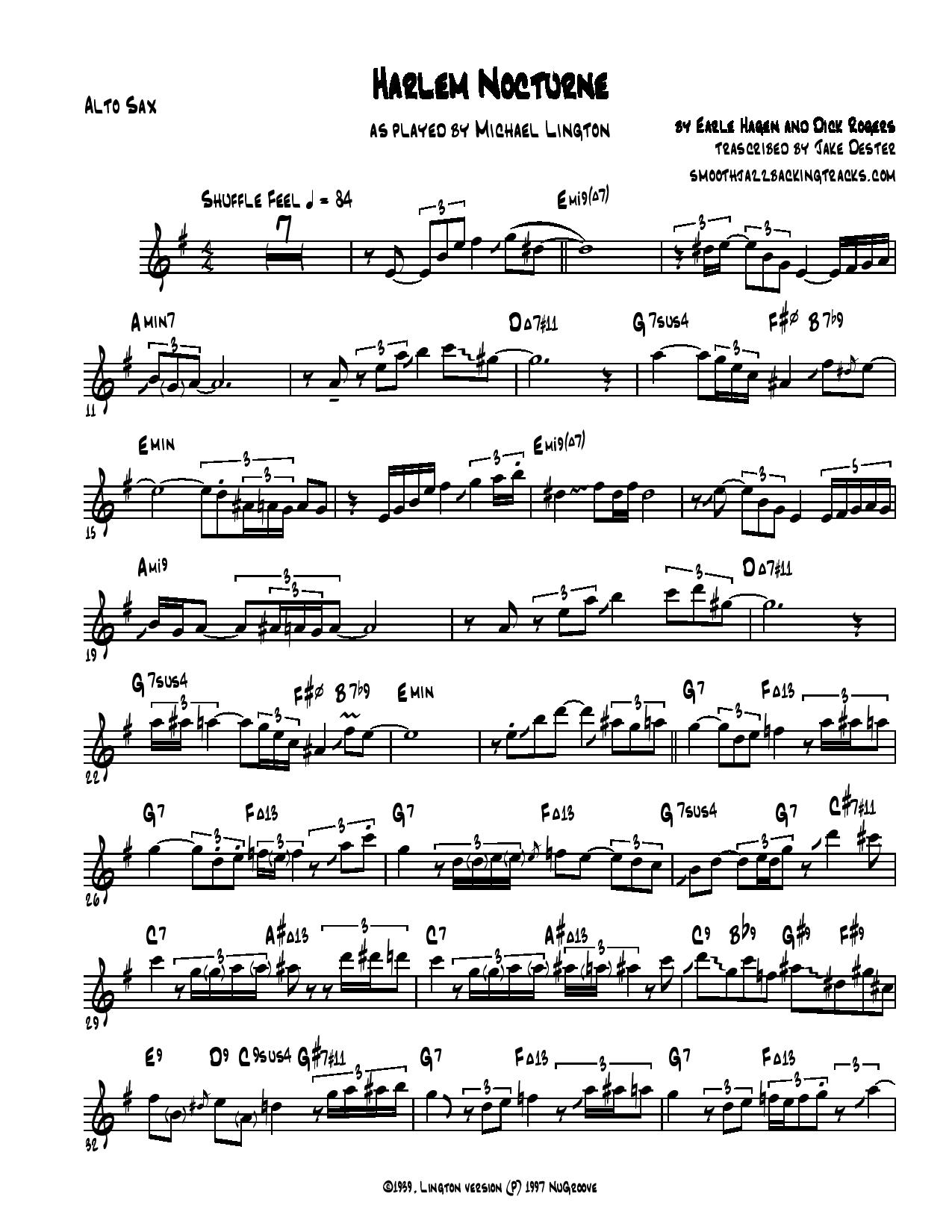 Smooth Jazz Sax Solo Sheet Music K M