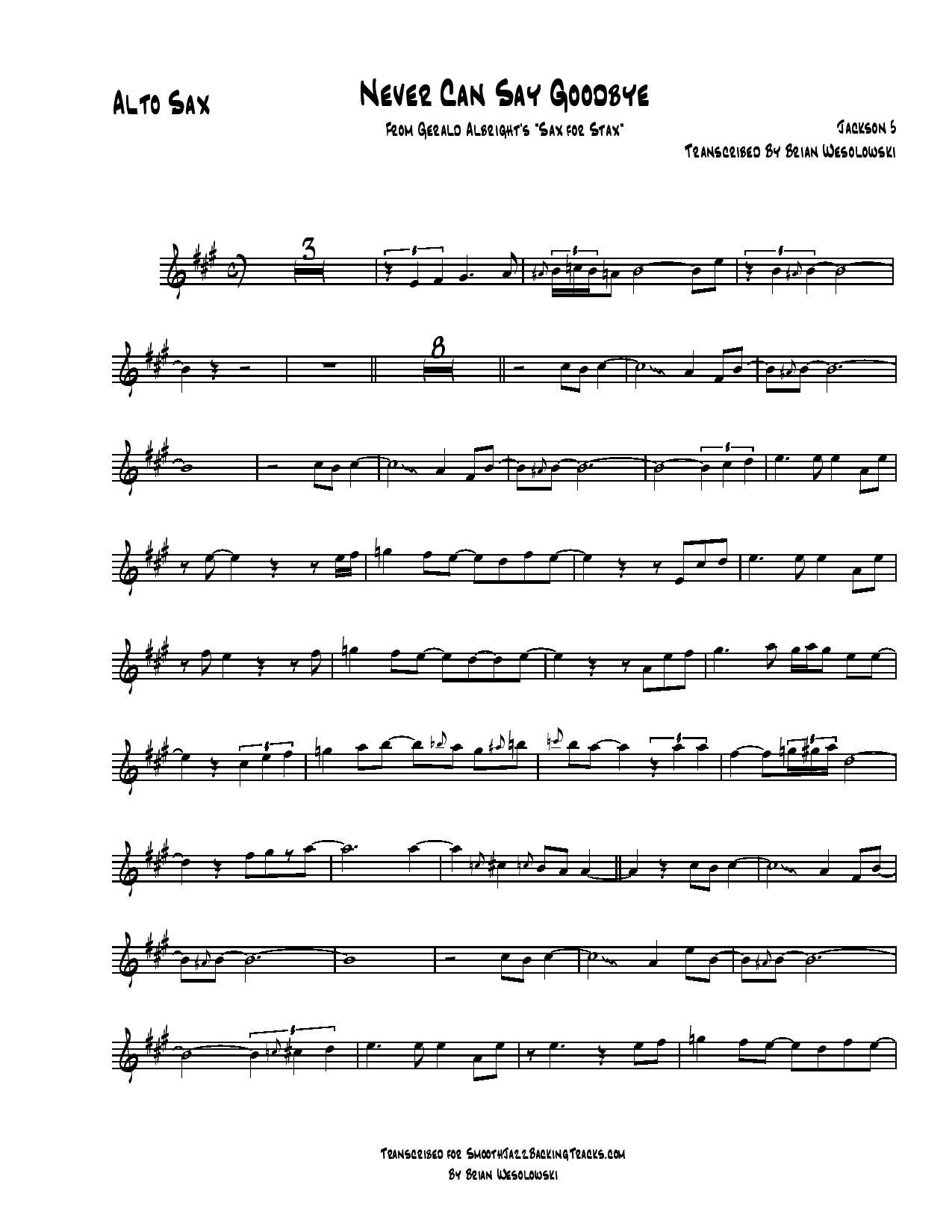 Smooth Jazz Sax Solo Sheet Music E-J