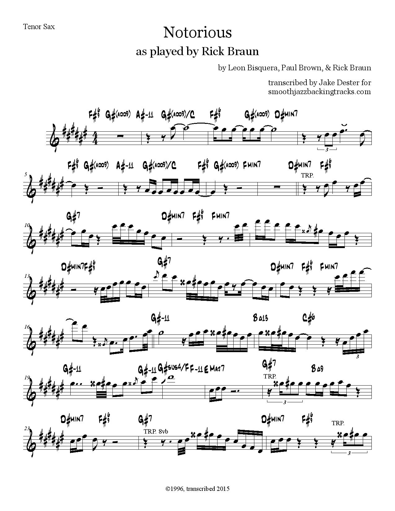 Sax Solo Sheet Music In Printable PDF