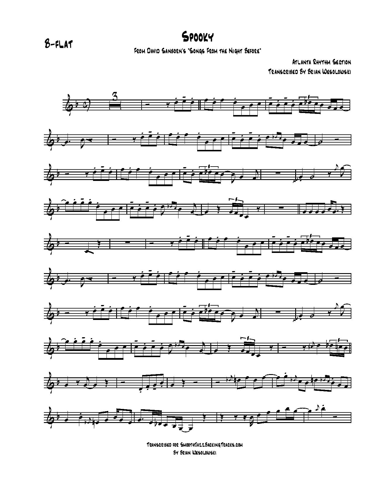 David sanborn spooky mp3 backing track sheet music for sax backing track hexwebz Gallery